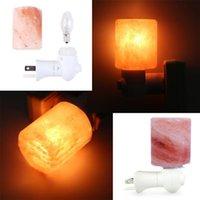 Nouveau cylindre exquis Rock naturel Sel Himalaya Lampe de sel Purificateur d'air avec la base de bois Amber Night Lights