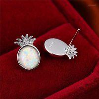 Saplama Basit Kadın Beyaz Oval Opal Küpe Trendy Gümüş Renk Ananas Küpe DAINTY Zirkon Meyve Düğün Küpe Kadınlar1