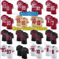 남성 여성 49er.청소년 10 Jimmy Garoppolo Jersey 85 George Kittle 97 Nick Bosa Jerry Rice Joe Montana Kyle Juszczyk Football Jerseys