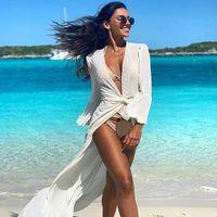 Playa Larga Maxi Vestido Mujer Playa Cubierta Cubierta Túnica Pareo Blanco V Vestido de Cuello Robe Traje de baño Ropa de playa Vestidos casuales Vestidos