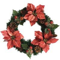 Meilleurs 16 pouces Couronnes de Noël Guirlandes pour salle de porte Décor à la maison extérieure, comprenant des cônes de pin artificiels et une fleur de soie