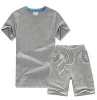 2019 Sıcak Satmak Klasik Yeni Stil 2-9 Yıl Çocuk Giyim Erkek Ve Kızlar için Spor Takım Elbise Bebek Bebek Kısa Kollu Giysi Çocuklar Set