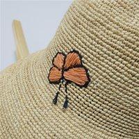 2021 Mode Sweet Sunflower Sunflower Motif de tournesol à la main Raffia Crochet Bassin pliable Chapeau de Pêcheur Pêcheur Chapeau de paille