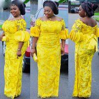2021 Vestidos de ocasiones especiales amarillas para mujeres afrian Mujeres más tamaño Floral Encaje Flores 3D Bow Bateau Hollow Back Vestidos de noche Fiesta Formal