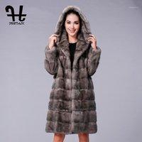 Furtalk طويل مقنع 100٪ معطف حقيقي المرأة الشتاء سترة الطبيعية الملابس النسائية 1