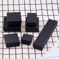 Sünger Dolu Mat Siyah Kağıt Karton Takı Hediye Ve Paketleme Bilezik Kolye Yüzük Kulak Çivi Kutusu Için Perakende Kutuları