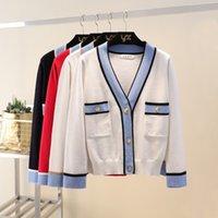Luxuriöse Designer Marke Gestrickte Pullover für Frauen V-ausschnitt Kontrastfarbe Tasten Gestrickte Strickjacke Pullover 201123