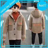 Дети восстановлены бегунные шерстяные пальто для мальчиков зима плюс цветы сгущает капушон молодой windjack детская одежда пальто