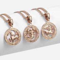 12 Signe du zodiaque Constellations Pendentif Collier Pour Femmes Hommes 585 Collier en or Rose Bijoux Bijoux Mode Anniversaire Cadeaux GPM16A1