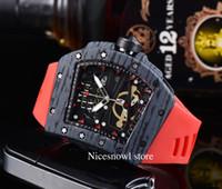 Nuovo Top Luxury Mens Guarda il quarzo Chronograph Swiss RM Mens Orologio da polso ghiacciato con cinturino in gomma hip-hop Sport uomo orologio maschio