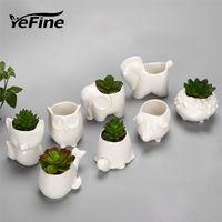 Yefine Creative Create Ceramic Flower Planter Bonsai Садовые горшки для садовых горшков Jardin Bonsai столик сочный цветочный горшок милые животные горшки LJ201222