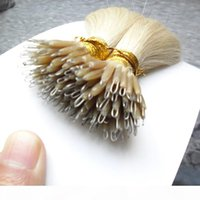 Keratin Straight European Micro Perlen Haar Micro Perlen Keine Remy Nano Ring Verbindungen Menschliche Haarverlängerungen 100g 9 Farben Blondine europäische Haare
