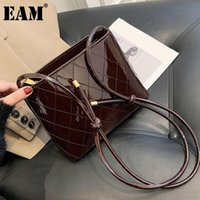 [EAM] Mujeres Nuevas Cubo de vinos de alta calidad PU de cuero de PU personalidad All-Match Crossbody Bolsa de hombro Moda Tide 2021 18A0835