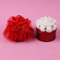 Hediye Paketi 10 Adet Yuvarlak Demir Şeker Kutuları Ile Beyaz / Kırmızı Gül Çiçek Takı Saklama Kutusu Para Sikke Anahtar Düğün Ev Dekor