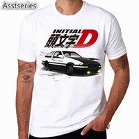 Hommes Imprimer Drift Japonais Anime Fashion T-shirt À manches courtes O Col Summer Cool Cool Casual AE86 Initial D Homme Tshirt C0119