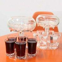 6 colpo di distributore di vetro Holder Wine Glass Glack Raffredder Birra Bevande Dispenser Shot Bar Accessori Accessori Bar Strumenti CCA12660 Trasporto mare