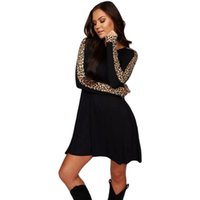 HKCP Casual Leopard Black Dress Dress Office Lady A-Line Natural Waist O-Collo Patchwork sopra il ginocchio, mini vestiti inverno 2020 Nuovo