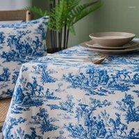 Ретро синий декоративный столовый ткань прямоугольные скатерти обеденные столовые крышки кухня обрусовая мантел MESA домашний декор подушки подушки 1