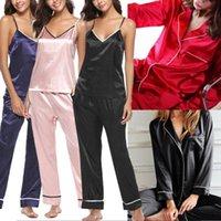 Womens Soft Solid Color Sexy Seta Silk Pajamas Ladies Loungewear Sleepwear Set NightGown Femmina New Sleepwear