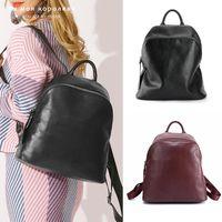 Mulheres genuínas Mulheres Mochila Femme Sacos de Viagem de Luxo Schoolbag para meninas Vintage Womens Womens Mochila