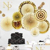 NICRO 8 PZ / Set Gold Party Decorativo Decorativo Carta creativa Flower Fan Handmade a strisce Pieghevole Fan Part JllxRW Lajiaoyard