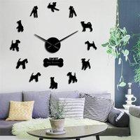 Wife Fox терьер собака молчаливый кварц DIY настенные часы Doggie силуэт подарок для любителей собаки зеркало поверхность часы часы домашних животных деко Y200109
