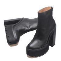 Sıcak Satış-Kadın Hakiki Deri Jeffrey Mulder Patik Siyah Moda Catwalk Campbell Mulder Platformu Topuk Çizmeler Yeni Ayakkabı
