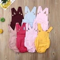 Neugeborenes Baby Junge Mädchen Strampler Sonnenuhr 7 Colors Button Blau gestreiften Feste Jumpsuit Sommer Outfit Kleidung1