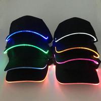 공 모자 패션 유니섹스 단색 컬러 LED 빛나는 야구 모자 크리스마스 파티 최고의 모자