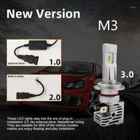 1 Pair New M3 Auto LED faro H11 H4 H7 Auto LED Faro del faro Kit di lampadina 90W 16000LM High Power Zes Lampadine 6500K Light White1