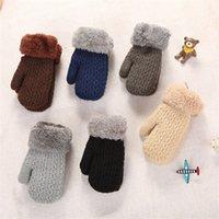 Enfants mitaines gant gant garçons filles double pont tricot laine en peluche épaississement gants de licou hiver à l'extérieur garder chaud 5 8xb j2