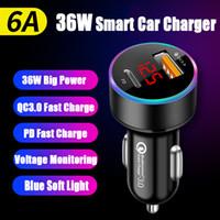 شاحن سيارة 36W PD المزدوج USB شاحن سريع لفون 8 × 11 SE برو QC 3.0 شحن سريع شاحن الهاتف USB