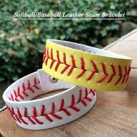 Charme pulseiras 2021 softball de couro / pulseira de beisebol