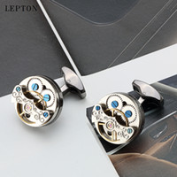 Lepton Tourbillon Deaction Design Cufflinks для мужских свадебных жених часы Стимпанк передач механизм манжеты ссылки Relojes Gemelos Y1130