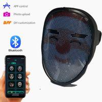 Bluetooth DIY фото Анимация Светящаяся маска для лица Приложение Управление Светящаяся Маска Смарт Светодиодные Лицевые Изменение Лицевой Сторона Маска Рождественский Подарок