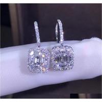 Heißer Verkauf Neue 2019 Luxus Schmuck 925 Sterling Silber T Form Weiß Topas CZ Daimond Frauen Hochzeit Edelsteine Ohrring Haken Für Liebhaber '3127k