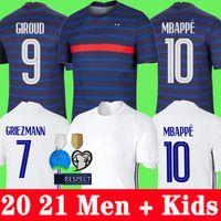 2020 2021 Maillots de football France MBAPPE GRIEZMANN POGBA soccer jersey 20 21 KANTE Football shirt maillot de foot hommes + enfants enfant de la