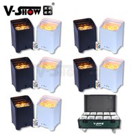 V-Show 10PCS+Case 6x18W Battery Led Uplight RGBWA UV 6 In 1 Wireless lights Rechargeable Powered Par Dmx Wedding Uplighting