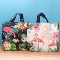 50 pcs Flamingo Presente Saco de Plástico com Saco de Armazenamento de Roupas de Punho Obrigado Saco de Compras Pláticas Embalagem Decoração de Partido de Casamento T200115