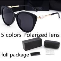 Moda İnci Tasarımcı Güneş Gözlüğü Yüksek Kalite Marka Polarize Lens Güneş Gözlükleri Gözlük Kadınlar için Gözlükler Metal Çerçeve 4 Renk 2039