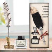 Kit de inmersión de pluma de pluma antigua de plumas de pluma incluye pluma de cubo, tinta, 5 puntas de reemplazo, base de soporte, caja de regalo exquisita regalos románticos
