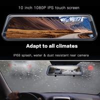 10 IPS сенсорный экран автомобиль DVR Stream Media зеркало зеркало заднего вида камеры 2CH двойной объектив передний 170Rear 145 широкоугольный FHD 1080P