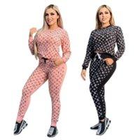 الملابس النسائية الأزياء الماركات المطبوعة الترفيه قطعتين مجموعة إلكتروني مجموعة ملابس النساء 2 قطعة المرأة رياضية