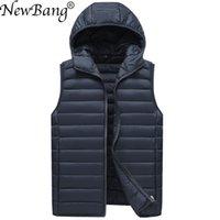 NewBang Brand Men's Waistcoat Ultra Light Cotton Vest Men Whin Hooded Waterproof Sleeveless Warm Liner Male Slim Gilet 201126