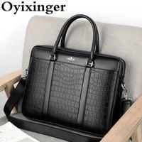 Briefcases Oyixinger Borsa da uomo Valigetta di business di modo per uomo Coccodrillo Pattern Borsa in pelle 14 pollici per laptop Borse a tracolla casual