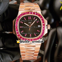 NIEUW 5711 / 113P-01 5711 Black Texture Dial Cal.324 SC Automatic Mens Horloge Emerald Square Diamond Bezel Rose Gold Armband Horloges Hallo_Watch