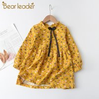 Bear Leader Girls Flowers Dresses New Autumn Spring Kids Princess Dress Casual Floral Costumes Children Clothing Suits 2-8 Years J1205