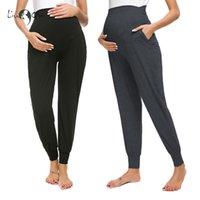 Pack 2 PCs Womens Maternity High Life Ambito confortevole Lounge Pantaloni di gravidanza Pantaloni piegati Premamary Stretchy Vestiti in gravidanza Pantaloni LJ201114