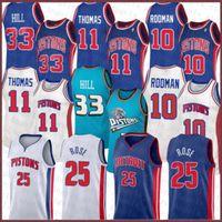 Derrick 25 Rose Isiah 11 Thomas Dennis 10 Rodman Grant 33 Hill DetroitPiston 2020 2021 Yeni Basketbol Jersey Brown