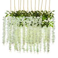 Fleurs artificielles Silk Silk Wisteria Fake Jardin Suspendre Fleur Plante Vigne Accueil Mariage Partie de mariage Décor HHD4766